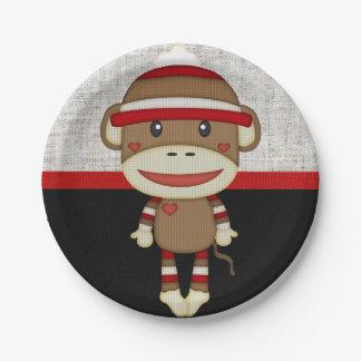 Retro Sock Monkey 7 Inch Paper Plate