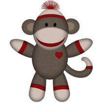Retro Sock Monkey Statuette