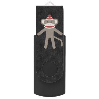 Retro Sock Monkey Swivel USB 3.0 Flash Drive