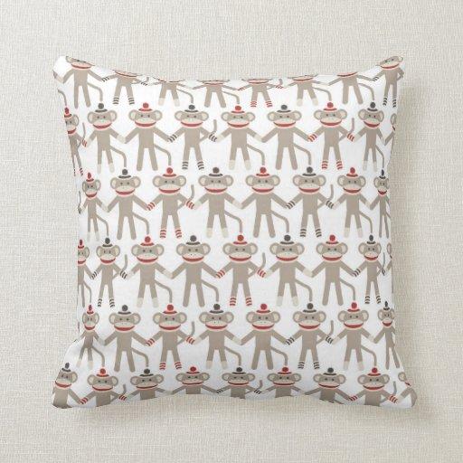 Retro Decorative Pillows : Retro Sock Monkey Throw Pillow Zazzle