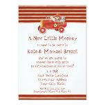 Retro Sock Monkey w Fire Engine Baby Boy Gifts 5x7 Paper Invitation Card