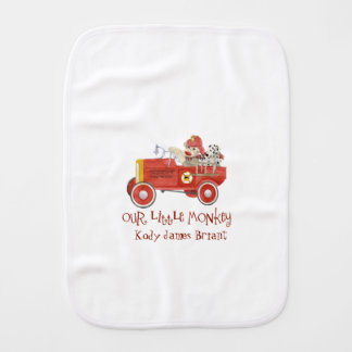 Retro Sock Monkey w Fire Engine Baby Boy Gifts Baby Burp Cloth