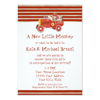 Retro Sock Monkey w Fire Engine Baby Boy Gifts Card