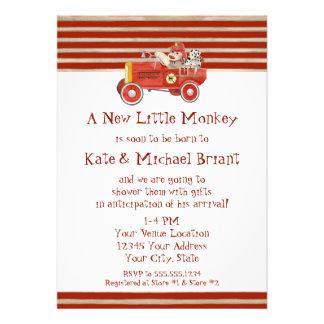 Retro Sock Monkey w Fire Engine Baby Boy Gifts Personalized Invitations