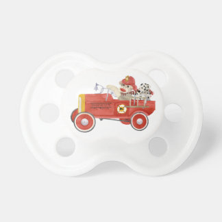 Retro Sock Monkey w Fire Engine Baby Boy Gifts Baby Pacifier