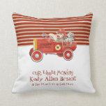Retro Sock Monkey w Fire Engine Baby Boy Gifts Pillow
