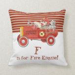 Retro Sock Monkey w Fire Engine Baby Boy Gifts Pillows