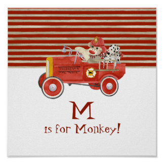 Retro Sock Monkey w Fire Engine Baby Boy Gifts Poster