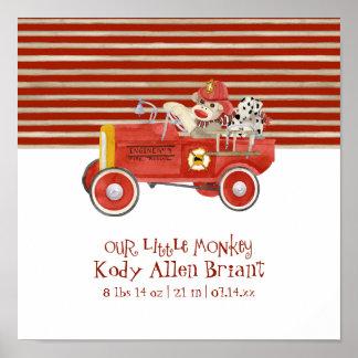 Retro Sock Monkey w Fire Engine Baby Boy Gifts Poster