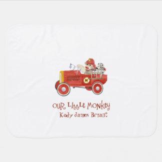 Retro Sock Monkey w Fire Engine Baby Boy Gifts Swaddle Blanket