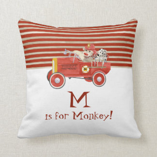 Retro Sock Monkey w Fire Engine Baby Boy Gifts Throw Pillow