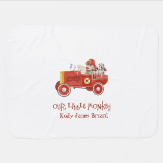 Retro Sock Monkey w Fire Engine Baby Boy Gifts Baby Blankets