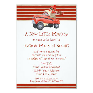 Retro Sock Monkey w Pedal Car Baby Boy Gifts Card