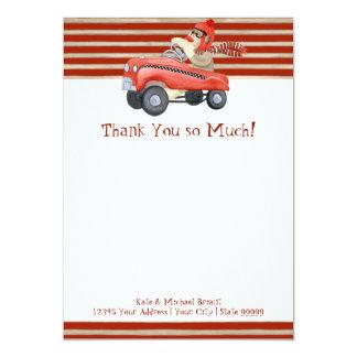Retro Sock Monkey w Pedal Car Baby Boy Gifts 5x7 Paper Invitation Card