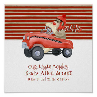 Retro Sock Monkey w Pedal Car Baby Boy Gifts Poster