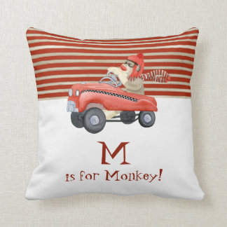 Retro Sock Monkey w Pedal Car Baby Boy Gifts Throw Pillow