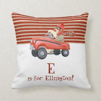 Retro Sock Monkey w Pedal Car Baby Boy Name Throw Pillow