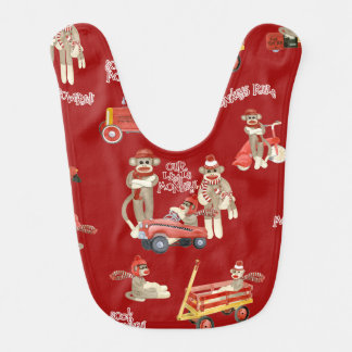 Retro Sock Monkey w Stocking Cap Baby Boy Gifts Baby Bib