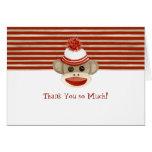Retro Sock Monkey w Stocking Cap Baby Boy Gifts Greeting Card