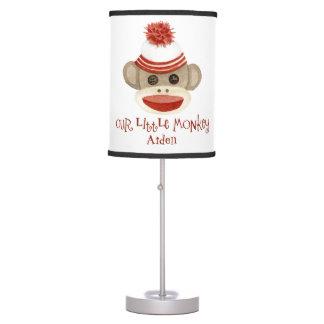 Retro Sock Monkey w Stocking Cap Baby Boy Gifts Desk Lamp