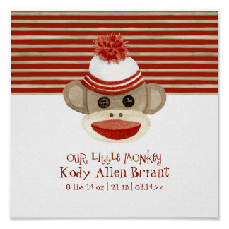 Retro Sock Monkey w Stocking Cap Baby Boy Gifts Poster
