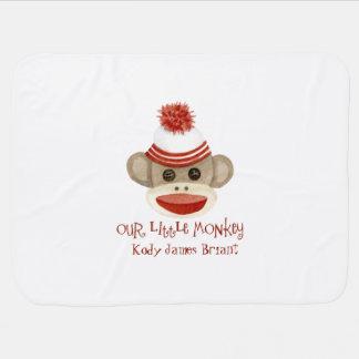 Retro Sock Monkey w Stocking Cap Baby Boy Gifts Receiving Blanket