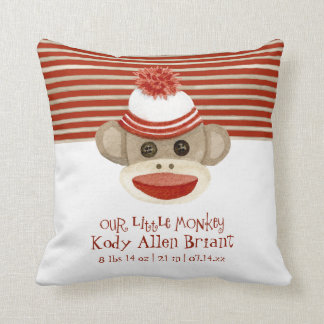 Retro Sock Monkey w Stocking Cap Baby Boy Gifts Throw Pillow
