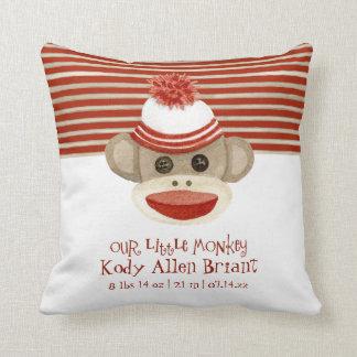 Retro Sock Monkey w Stocking Cap Baby Boy Gifts Throw Pillow