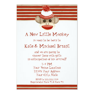 Retro Sock Monkey w Stocking Cap Baby Boy Shower Card