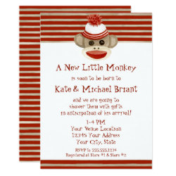 Retro Sock Monkey w Stocking Cap Baby Boy Shower Invitation