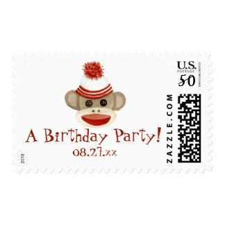 Retro Sock Monkey w Stocking Cap Birthday Party Postage