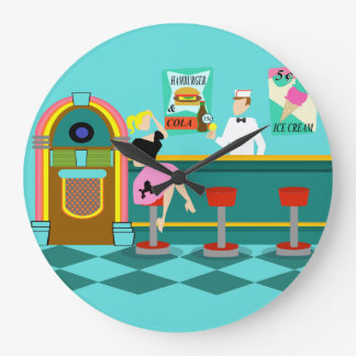 Retro Soda Fountain Acrylic Round Clock