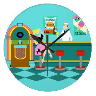 Retro Soda Fountain Acrylic Round Clock