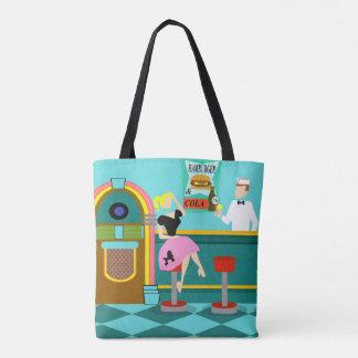 Retro Soda Fountain All-Over Print Tote Bag