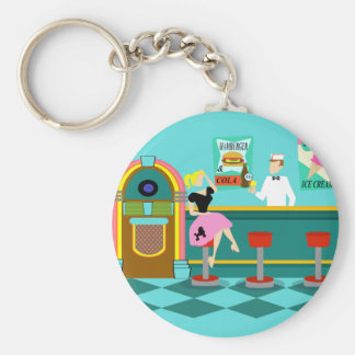 Retro Soda Fountain Button Keychain