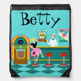 Retro Soda Fountain Drawstring Backpack
