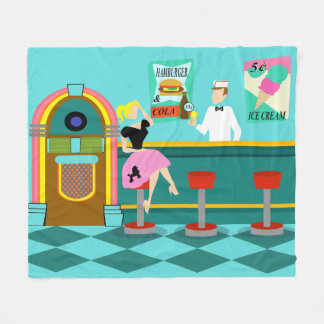 Retro Soda Fountain Fleece Blanket