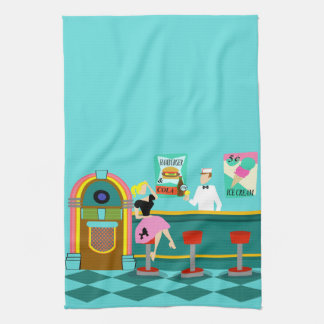 Retro Soda Fountain Kitchen Towel
