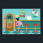 """Retro Soda Fountain Laminated Placemat<br><div class=""""desc"""">Serve up something special with this Customizable Retro Soda Fountain Laminated Placemat. The minimalist art, cartoon drawing design features the interior of the coolest spot in town. It&#39;s a 1950&#39;s soda fountain, in all of its kitschy glory! Against the backdrop of an aqua wall, we can see posters advertising the...</div>"""