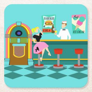 Retro Soda Fountain Paper Coaster
