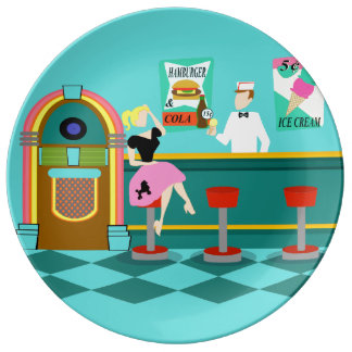 Retro Soda Fountain Porcelain Plate