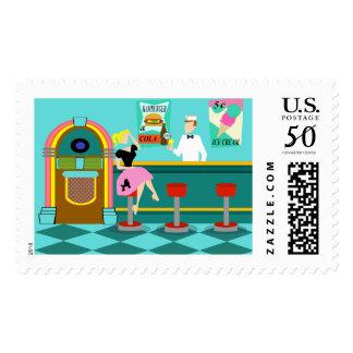 Retro Soda Fountain Postage Stamps