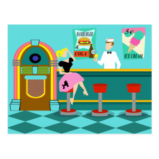 Retro Soda Fountain Postcard