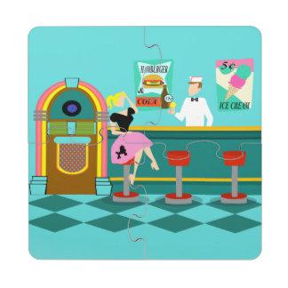 Retro Soda Fountain Puzzle Coaster