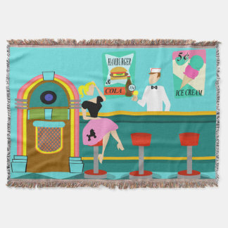 Retro Soda Fountain Throw Blanket
