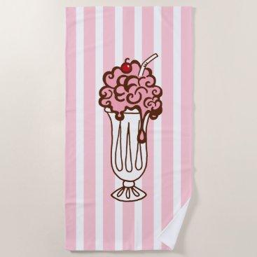 Beach Themed Retro Soda Ice Cream Beach Pool Towel Gift