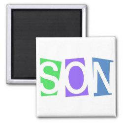 Square Magnet with Retro Son design
