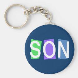 Basic Button Keychain with Retro Son design