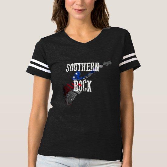 Retro Southern Rock Music Patriotic Flag Guitar T-shirt