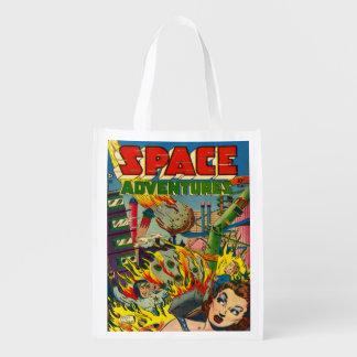 RETRO SPACE ADVENTURES SCI FI COMICS GROCERY BAG